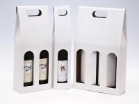 papírová krabice na jednu láhev vína - bílá