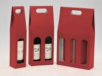 papírová krabice na jednu láhev vína - červená