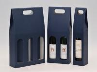 papírová krabice na jednu láhev vína - modrá