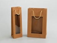 přírodní sulfátové tašky z vlnité lepenky s průhledným oknem