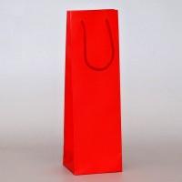 papírová taška na víno červená s matnou laminací