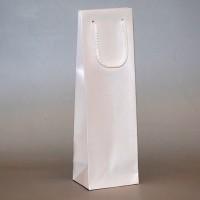 papírová taška na víno metalická bílá
