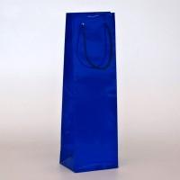 papírová taška na víno modrá s lesklou laminací