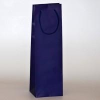papírová taška na víno modrá s matnou laminací
