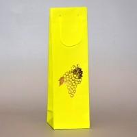 papírová taška na víno s ražbou žluto-hnědá