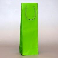 papírová taška na víno zelená s matnou laminací