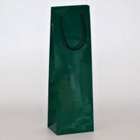 papírová taška na víno zelená s lesklou laminací