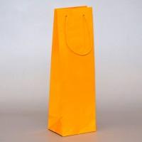 papírová taška na víno žlutá s lesklou laminací