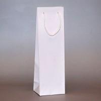 papírová taška na víno bílá s matnou laminací