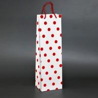 papírová taška na víno bílá s červenými puntíky s matnou laminací
