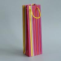 papírová taška na víno pruhovaná s matnou laminací