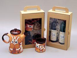 hotová dárková krabice na víno s průhledným oknem